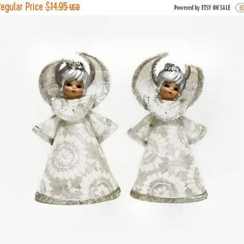 christmas angels mid century holiday decor white silver lace - Christmas Angels For Sale