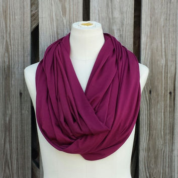 Wine Infinity Scarf - Burgundy Loop Scarf -  Maroon Circle Scarf - Silky Soft Jersey Knit Scarf