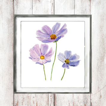 watercolor Print  Purple cosmos  flower digital download  watercolor painting wall decor floral arts watercolor flower watercolor art