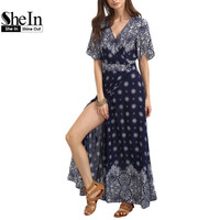 SheIn Ladies Summer Long Dresses With Sleeve Womens Vintage Multicolor Print V Neck Half Sleeve Split Maxi Dress