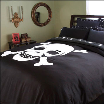 Black and White Skull Duvet Cover | Skull Bedding by Sin in Linen