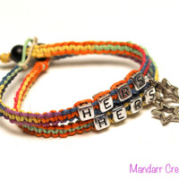 Clearance SALE - Hers and Hers Rainbow Hemp Bracelets with Star Charms