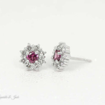 Sterling Silver Genuine Round Rhodolite Garnet & White Topaz Halo Stud Earrings