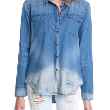 Right Time Denim Chambray Shirt - Blue