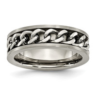 Men's Titanium Chain Inlay Brushed Wedding Band Ring: 7