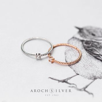 171206   S925 Simple Zircon Twist Ring, Fashion Four Claw Tail Ring J3151