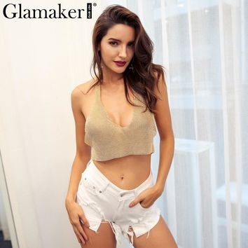 Glamaker Luxury Halter metal short summer crop top Sexy women backless gold tank top Silver diamond deep v neck party club camis