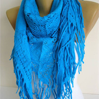 Blue scarf-Trend Scarf- Fashion Scarf- Shawls-Scarves-Fashion accessories-christmas gift for her-scarves