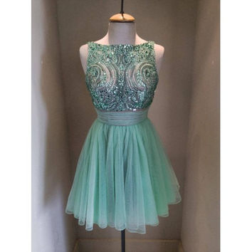 Homecoming Dress,Beadings Green Chiffon Short Prom Dress