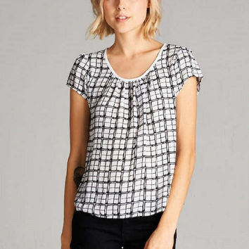 On The Grid Patterned Top with Lace Insert