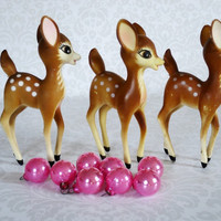 Vintage Deer Figurines - Kitsch Plastic Reindeer Figures - Three Hong Kong Plastic Deer Figures