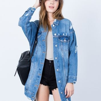 Torn Up Oversized Denim Jacket