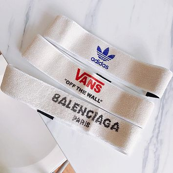 Adidas x Vans x Balenciaga Hot Sale Popular Women Men Personality Sports Headband Gym Yoga Headband Front Hairband Running Sweat-Absorbing Letter Head Band I12165-1