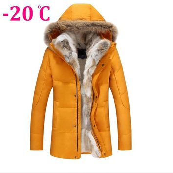 Winter Men Jacket Bunny Fur Large Raccoon Fur Collar Down Coats Men's Rabbit Fur Snow wear Cardigan Hooded Down Jacket Outwear