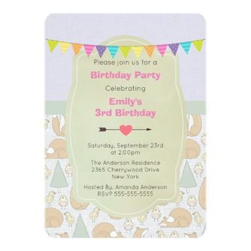 Fox, Birds and Trees Whimsical Birthday Invite