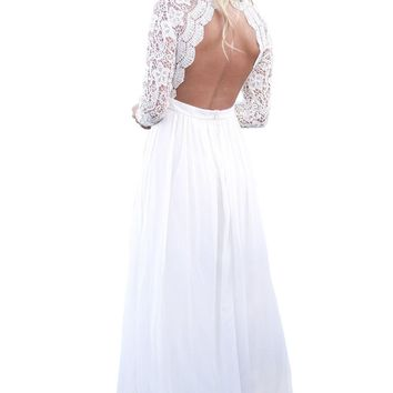 Chicloth White Open Back Long Sleeve Crochet Maxi Party Dress