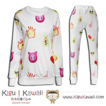 New Cat and Emoticon Pattern Kawaii Style Round-Neck Sweater and Jogging Pants KK658