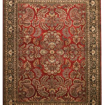 EORC Hand-knotted New Zealand Wool Red Traditional Oriental Sarouk Rug