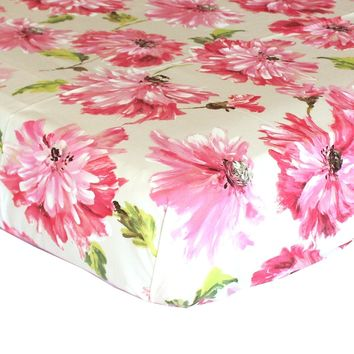 Tallulah Petunia Floral Fitted Crib Sheet - 100% Cotton - Fits Standard Crib Mattresses