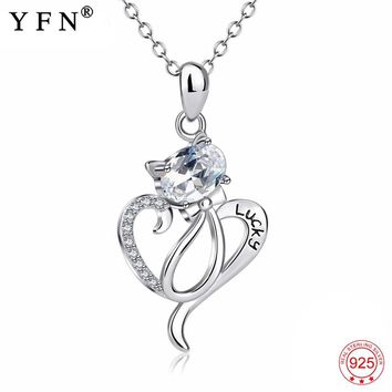925 Sterling Silver Crystal Lucky Cat Necklace Love Heart Bowknot Cute Cat Pendants Necklaces Gift For Women Pet Lovers GNX13909