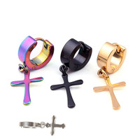 Cross Shaped Ear Stud Earrings Titanium Steel Ear Clip 4*9cm