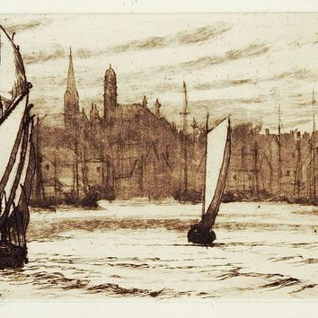 Glouchester Harbor Etching