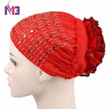 New Fashion Women Bandanas Turban Bonnet Beanie Hat Chemo Headwear Diamond Turban Hat Muslim Hijab Islamic Mesh Insert Turbante