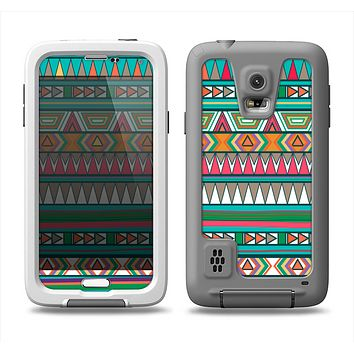 The Tribal Vector Green & Pink Abstract Pattern V3 Samsung Galaxy S5 LifeProof Fre Case Skin Set