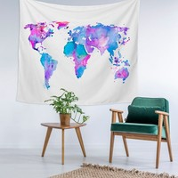 Painted World Map Home Decor Custom Printed Unique Dorm Decor Apartment Decor Trendy Wall Art Printed Wall Hanging Wall Tapestry