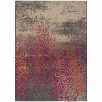 Kaleidoscope Grey Pink Abstract Distressed Transitional Rug