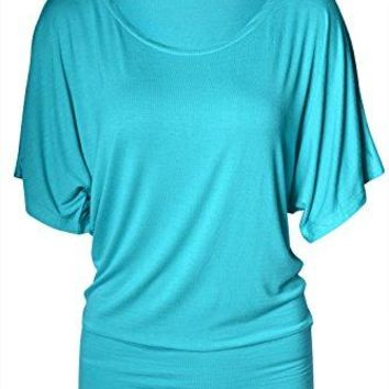 The Lovely TheLovely Womens Boatneck Dolman Short Sleeve Draped Tunic Top