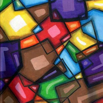 fun modern cubist abstract original art painting squares rectangles shapes acrylic geometric contemporary artwork