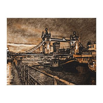 Vintage London Tower Bridge In Rainy Day Drawing Canvas Print