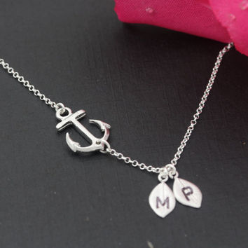 Personalized Sideways Anchor Necklace. Silver Anchor Necklace. Custom Initial Necklace. Symbolic Gift of Strength Love .  Nautical jewelry