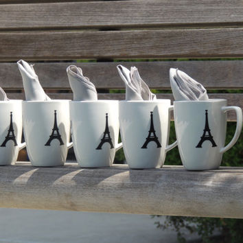 white coffee cup, wedding party favor, paris theme party, bridal shower favor, personalized coffee cup, holiday party favor, Christmas gift