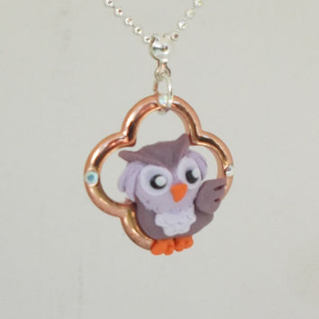 "fanART- ""Lucky Purple Owl"" -unique owl, gift for her, cool gift for teenager, stocking stuffer"