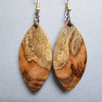 Gmelia Burl Exotic Wood  Earrings repurposed ecofriendly Handcrafted ExoticWoodJewelrynd
