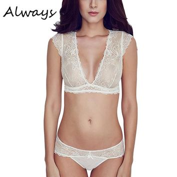 Women Sexy Embroidery Floral lace Sheer Thongs Panty Lingerie Underwear Bra Set See Through Sexy Lingerie