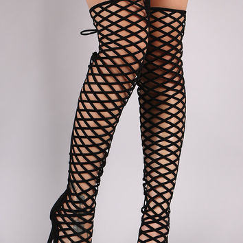 Back Lace-Up Geo Cutout Over-The-Knee Stiletto Heel