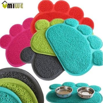 Cute Paw PVC Pet Dog Cat Feeding Mat Pad Pet Dish Bowl Food Water Feed Placemat Puppy Bed Blanket Table Mat Easy Wipe Cleaning