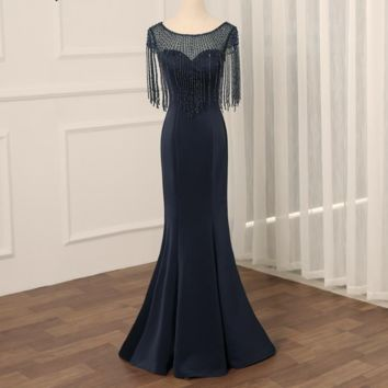 Sexy Evening Dress Scoop Neck Mermaid Long Evening Dresses Party  Beading Tassel Prom Gowns