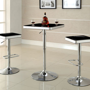 Veria modern style Black top and white trim rounded square top adjustable height bar table with chrome base