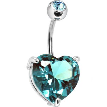 March 14mm Heart Solitaire Birthstone Belly Ring