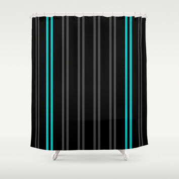 Charcoal Gray/Teal/Black Vertical Stripes Shower Curtain by Lyle Hatch