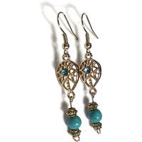 Dreamcatcher Bohemian Earring, Turquoise Rhinestone Gold , Blue Teal - Proceeds Charity