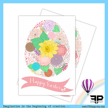 Happy Easter greeting card | Easter thank you card | 5x7 PDF Instant Download |