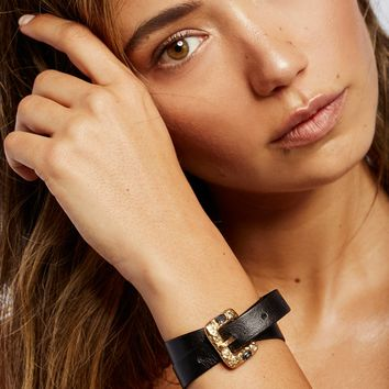 Free People Swarovski Buckle Leather Wrap Cuff