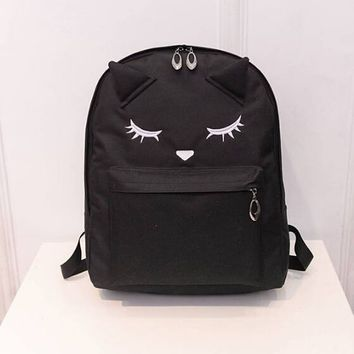 University College Backpack Cute Cartoon Embroidery Cat Printing  Canvas s For Teenage Girls  Style Casual  Sac MochilasAT_63_4