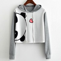 Panda Hooded Cropped Sweatshirt