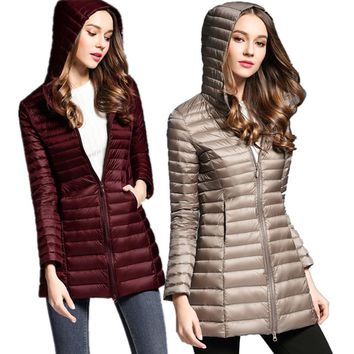 CHANGYUGE New Casual Long Slim Down Jacket Women Winter Down Coats Ultra Light Down Jacket Quilted Hooded Coat